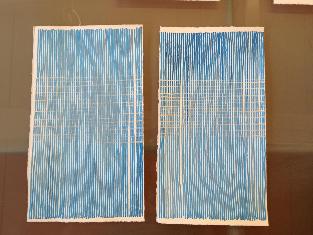 two blue ink drawings with 19 lines