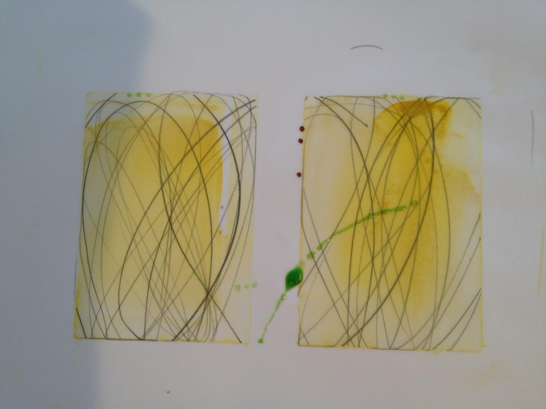 yellow duo drawings by stella untalan