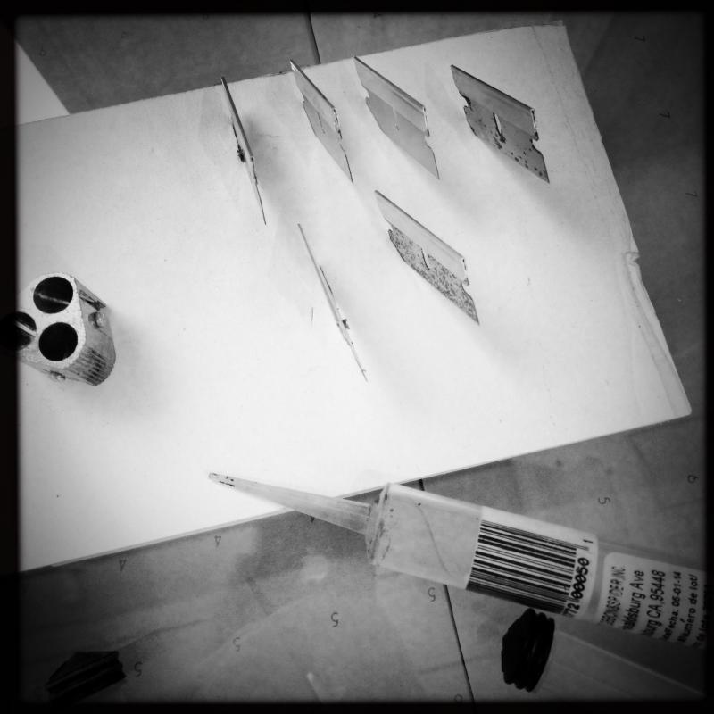 single edged razor blades in the studio.
