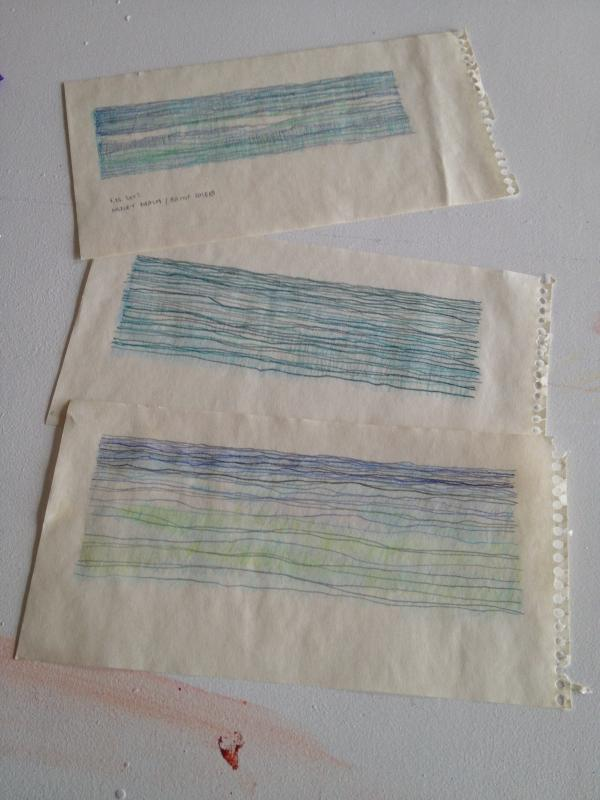Three plein air ocean drawings on paper by Stella Untalan.