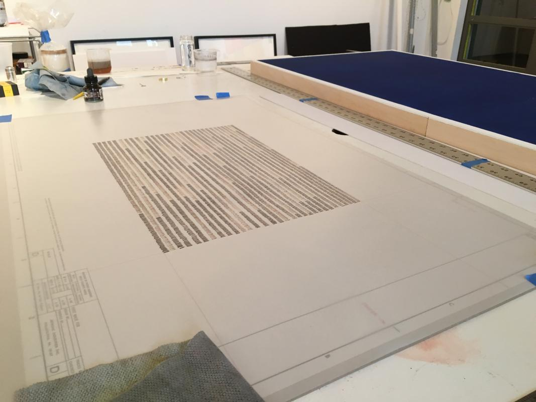 Image from my studio working on drawings for Being in the Woods