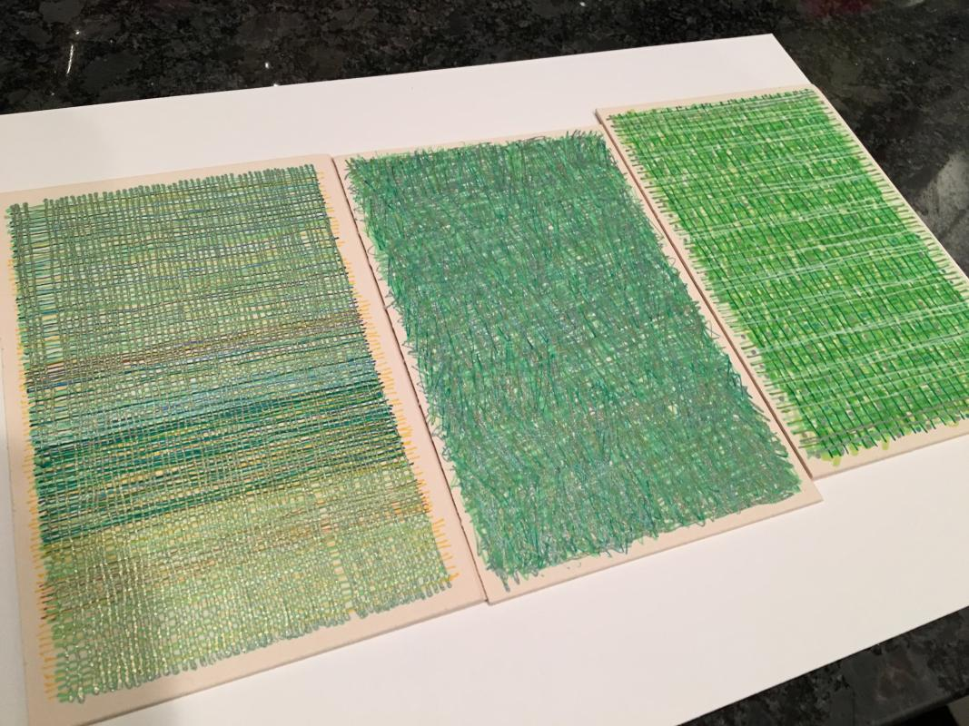 Three drawings in the grass is green an exhibition by Heavy Bubble at ARTSPACE 1241