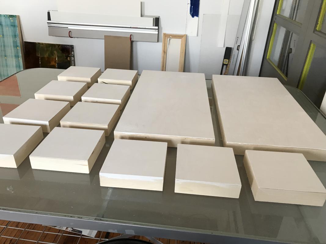 Gessoed panels resting