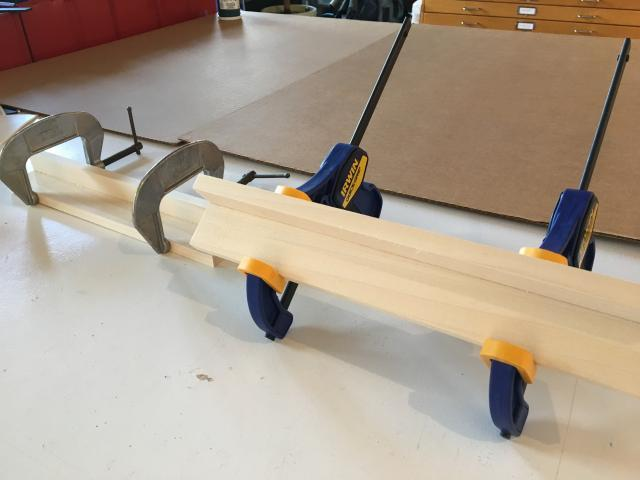 Clamping a handmade wooden cleat