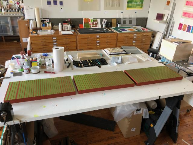 Stella Untalan studio worktable view with Sonic a new commission