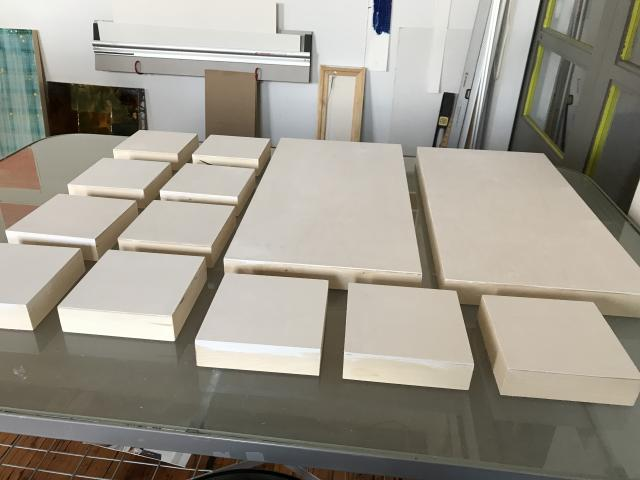 Gessoed panels resting