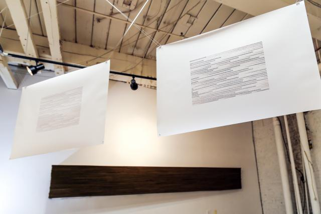 Stella Untalan drawings in Being in the Woods with sculpture by Brian Dennis