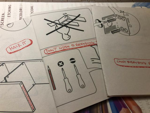 three IKEA Assembly sheets made into books with annotations