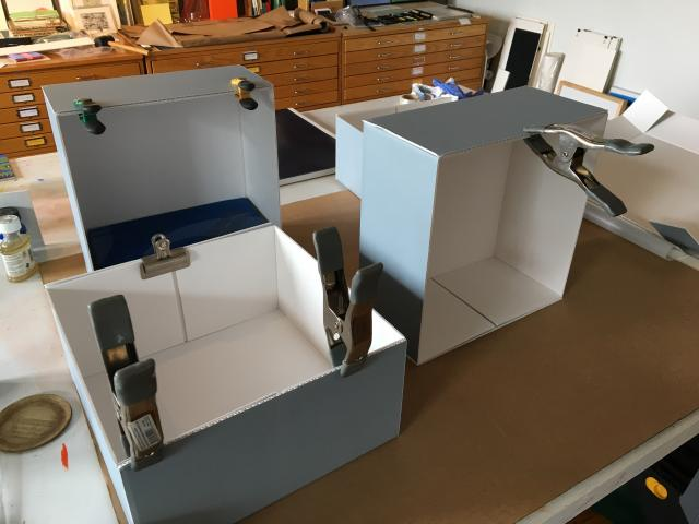 Building boxes on my worktable.