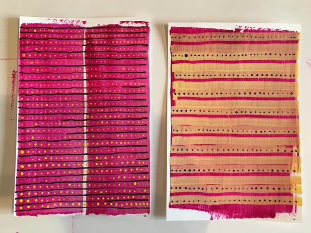 Two magenta drawings by Stella Untalan