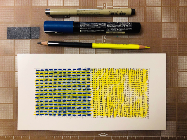 Horizontal blue and yellow fields and marks by Stella Untalan