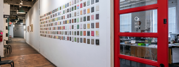 Hallway view of 260 drawings in the installation Stella Untalan at @HBHQ